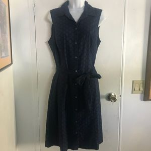 NWT Lands End sz 10 Navy Cotton Eyelet lined Dress